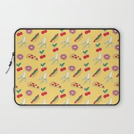 Modern yellow red fruit pizza sweet donuts food pattern Laptop Sleeve