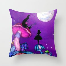 Alice in Wonderland and Caterpillar Throw Pillow
