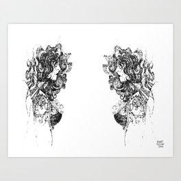 Heads it is! (Pen Drawing, Figure Illustration) Art Print