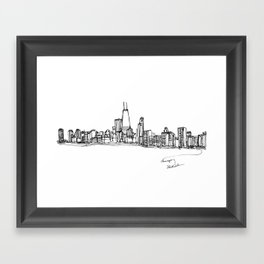 Chicago Skyline (A Continuous Line Drawing) Framed Art Print