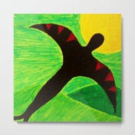 The Birdman On A Solo Flight - Green Tint Metal Print