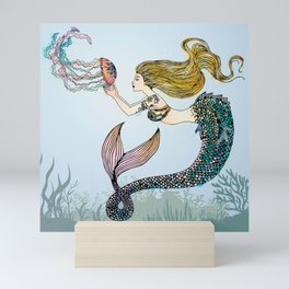 Jellyfish and Mermaid Mini Art Print