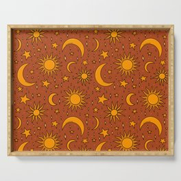 Vintage Sun and Star Print in Rust Serving Tray