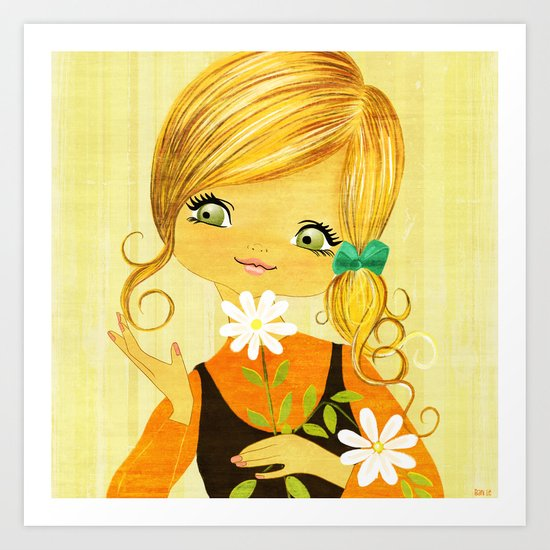 Sunshine Flower Girl Art Print