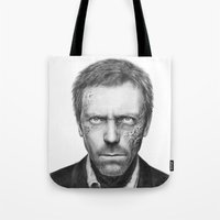 house md Tote Bags featuring House MD by Olechka