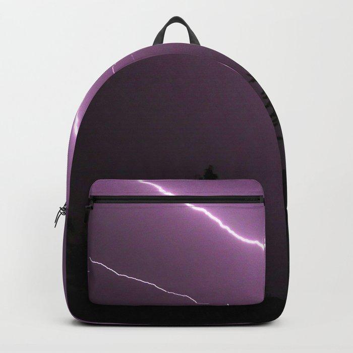 Purple Lightning Night Sky Backpack