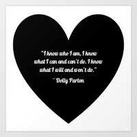 dolly parton Art Prints featuring Dolly Parton slogan in Black by Geraldine Mattis