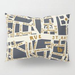 PARIS MAP GREY GOLD Pillow Sham