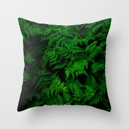Deep Forest Ferns Throw Pillow
