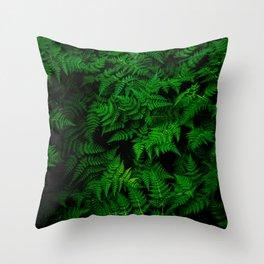 Deep Forest Ferns Throw Pillow
