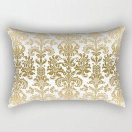 White & Gold Floral Damask Pattern Rectangular Pillow