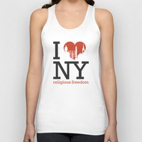 religious Tank Tops featuring Luv New York Religious Freedom by The Mindful