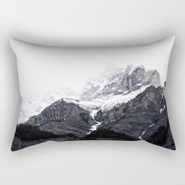Moody snow capped Mountain Peaks - Nature Photography Rectangular Pillow