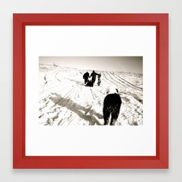 Sledding Party with a Sheepdog Framed Art Print