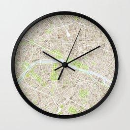 Paris SGB Watercolor Map Wall Clock