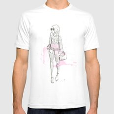 Damsel Pencil Sketch 2 Mens Fitted Tee White MEDIUM