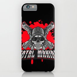 Total Maniac Skull and Guns Skulls Weapons Scary iPhone Case