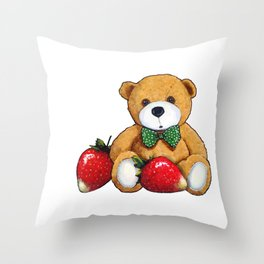 Teddy Bear With Strawberries, Illustration Throw Pillow