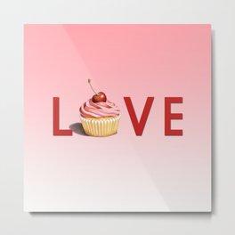 Perfect Pink Cupcake LOVE Metal Print