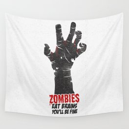 Zombies Eat Brains Wall Tapestry