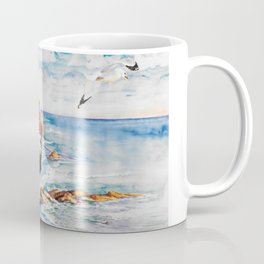 Watercolor Boy with Seagulls Coffee Mug