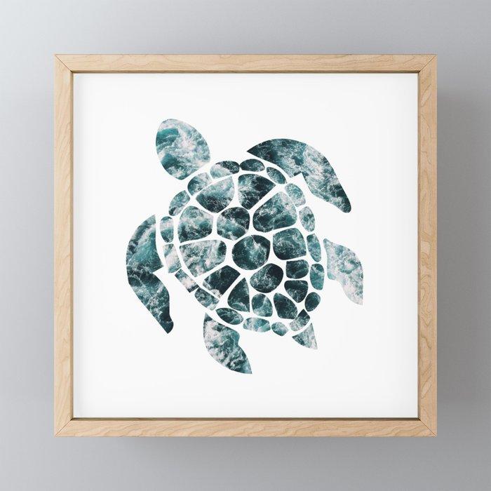 Sea Turtle - Turquoise Ocean Waves Framed Mini Art Print