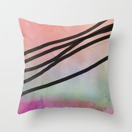 Pink Abstract with Lines - Pastel Throw Pillow