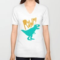 dino V-neck T-shirts featuring Dino by Chelsea Herrick