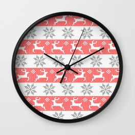 Watercolor Fair Isle in Red & Grey Wall Clock
