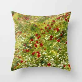 Impressionist Poppies Throw Pillow