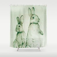 bunnies Shower Curtains featuring Bunnies by ajtaylor