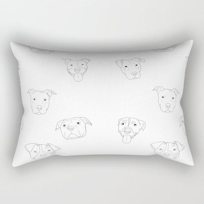 White pit bull love Rectangular Pillow