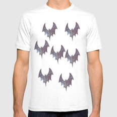Space bats MEDIUM White Mens Fitted Tee