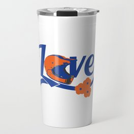 """A Cool Motocross Tee For Riders Saying """"Love"""" With An Illustration Of A Helmet T-shirt Design Break Travel Mug"""