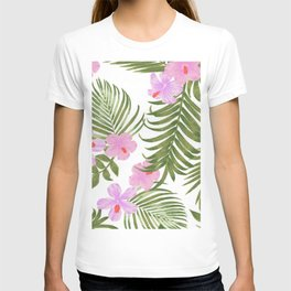 Modern pink green palm tree tropical floral T-shirt