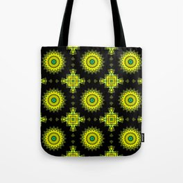 Black and yellow round ornament 1 . Tote Bag