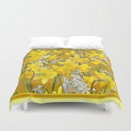 Mustard Yellow Art Golden Daffodils Garden Design Duvet Cover