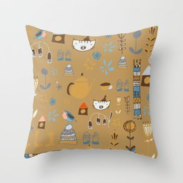 hygge cat and bird camel Throw Pillow