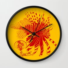 Chinese Cut Out Lion Fish Wall Clock
