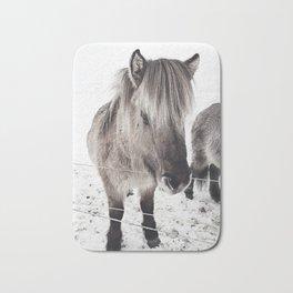 snowy Icelandic horse bw Bath Mat