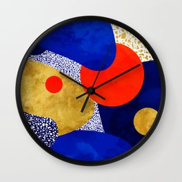 Terrazzo galaxy blue night yellow gold orange Wall Clock