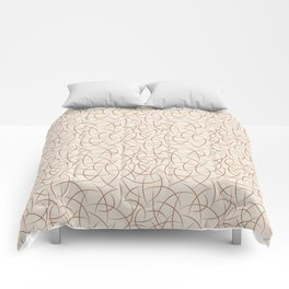 Cavern Clay SW 7701 Abstract Crescent Moon Shape Pattern on Creamy Off White SW7012 Comforters