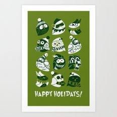 Elf Owls (monochromatic) Art Print