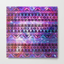 Head In Space | Girly Andes Aztec Pattern Pink Teal Nebula Galaxy Metal Print