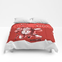 cartton style voodoo baby with red background Comforters