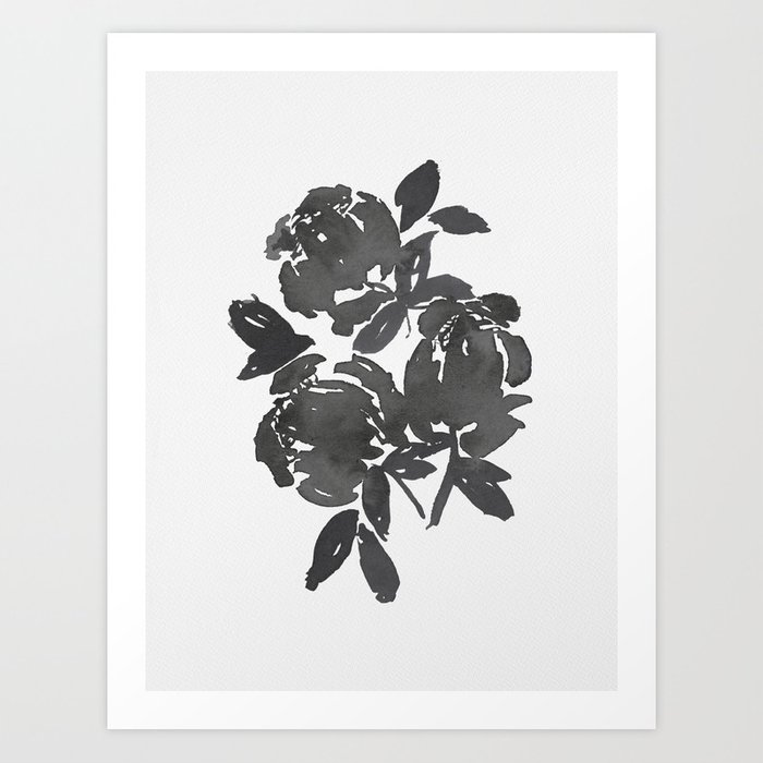 Grey Inky Watercolor Flowers Art Print
