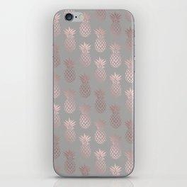 Girly rose gold & grey pineapple pattern iPhone Skin