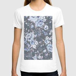 Blue FLORAL roses pattern T-shirt