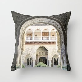 Portal to inner patio - Alcazar of Seville Throw Pillow
