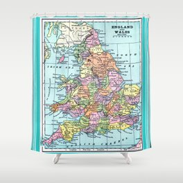 Vintage Map  of England and Wales Shower Curtain
